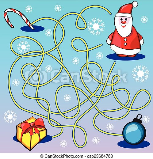 Maze game or activity page for kids - help santa to choose the right ...