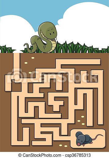 Maze game : snake and mouse - csp36785313