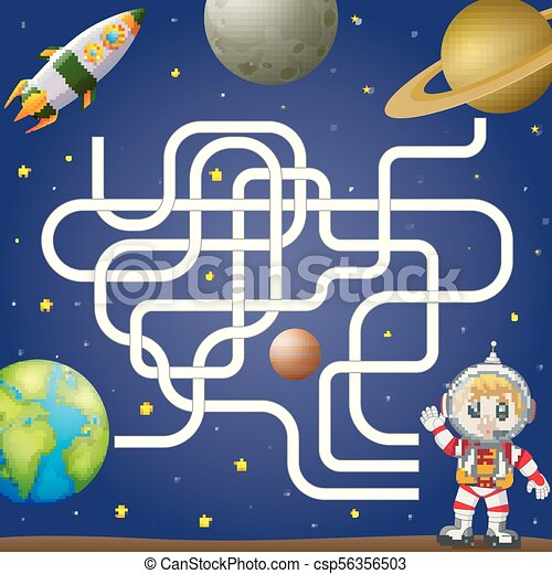 Illustration of maze game template with space and astronaut, background.