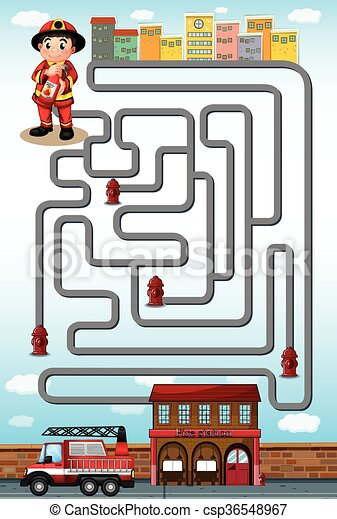 maze game with fire fighter and station illustration clip art vector rh canstockphoto com fire station clipart png fire station sign clipart