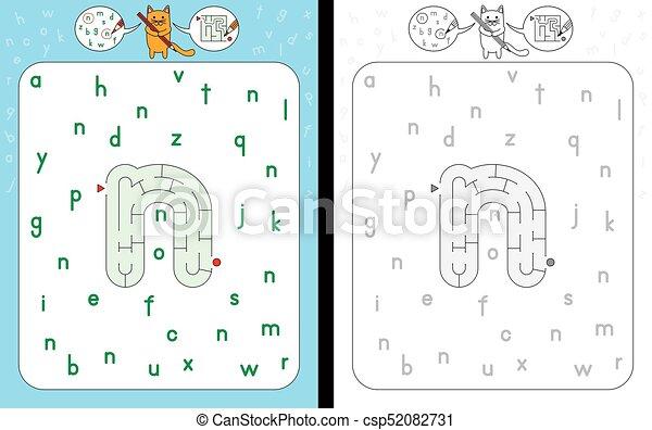 Maze Letter N Worksheet For Learning Alphabet Recognizing