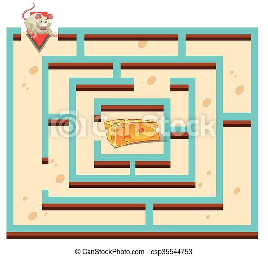 Maze template with mouse and cheese illustration.