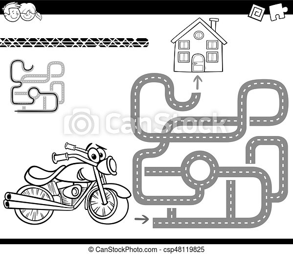 maze with bike for coloring - csp48119825