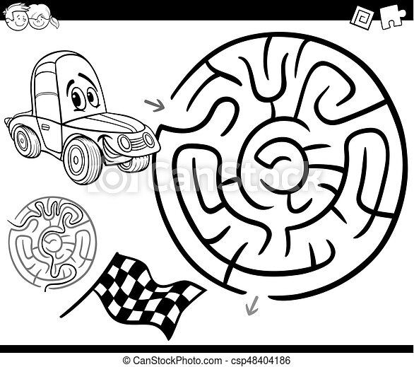 maze with car coloring page - csp48404186