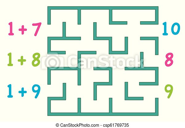 Maze with color numbers for children over white background. Find the way to the correct answer. - csp61769735