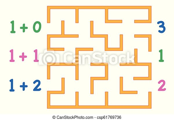 Maze with color numbers for children over white background. Find the way to the correct answer. - csp61769736