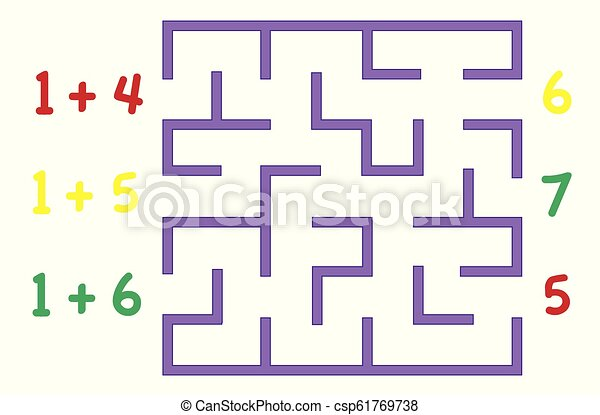 Maze with color numbers for children over white background. Find the way to the correct answer. - csp61769738