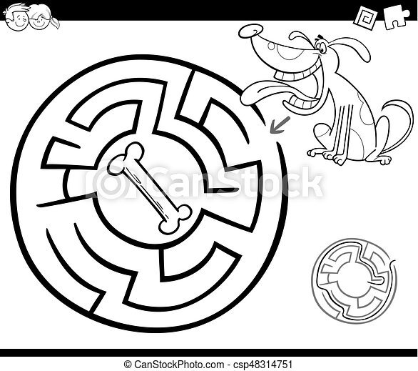 maze with dog coloring page - csp48314751