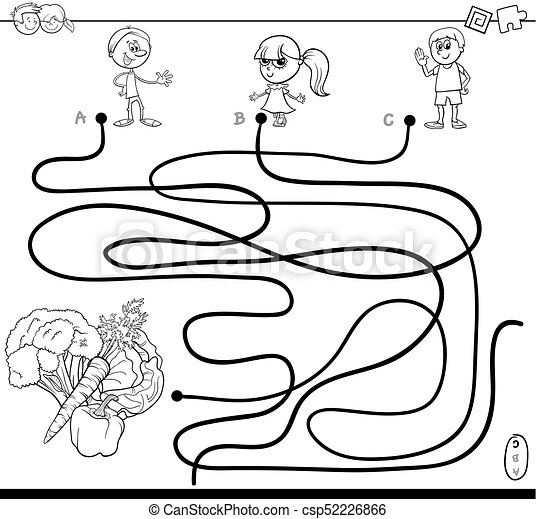 Maze with kids and vegetables coloring book. Black and white... clip ...