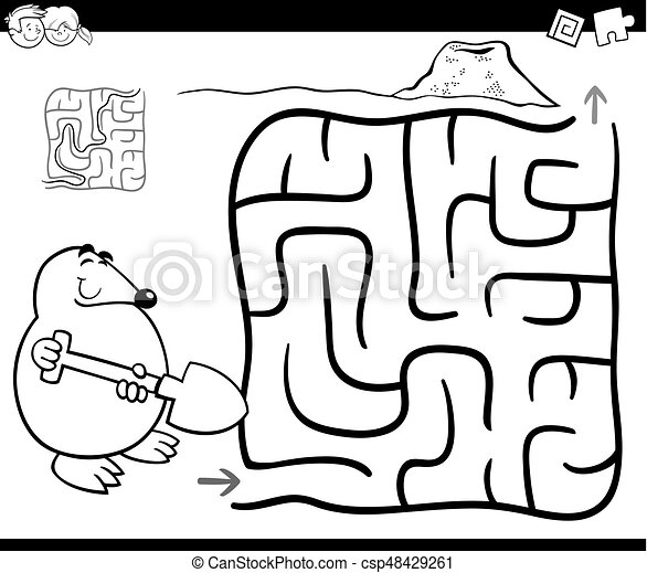 maze with mole coloring page - csp48429261