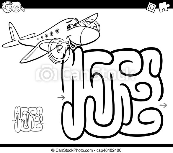 maze with plane coloring page - csp48482400