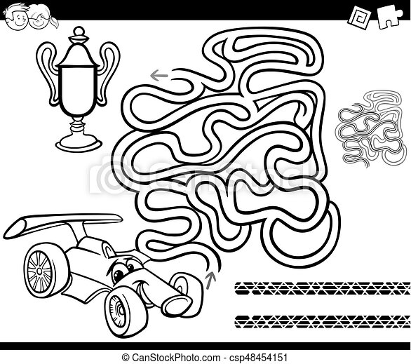 Maze With Race Car Coloring Page Black And White Cartoon