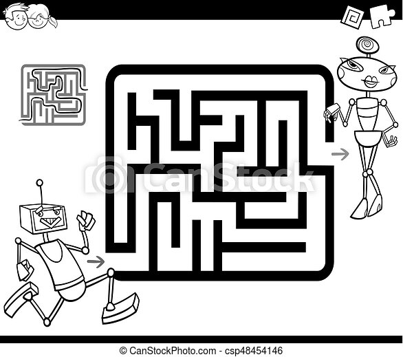 maze with robots coloring page - csp48454146