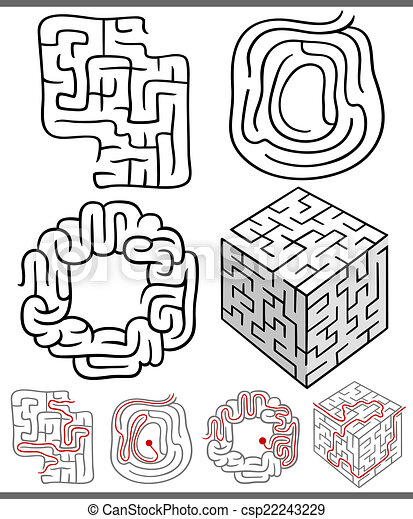 mazes or labyrinths diagrams set - csp22243229