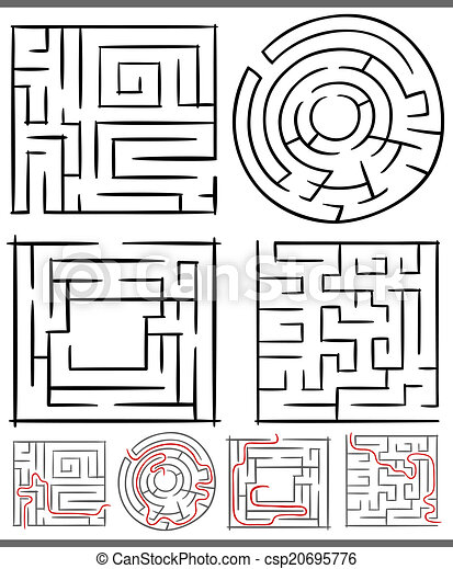 mazes or labyrinths diagrams set - csp20695776