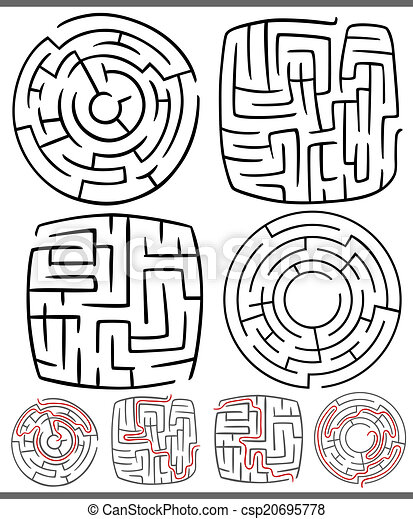 mazes or labyrinths diagrams set - csp20695778