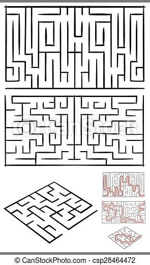 mazes or labyrinths diagrams set - csp28464472