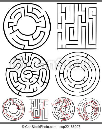 mazes or labyrinths diagrams set - csp22186007