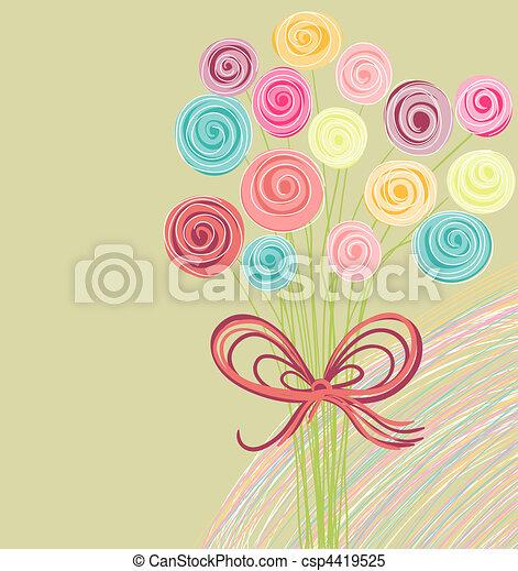 mazzolino, astratto, fiori - csp4419525