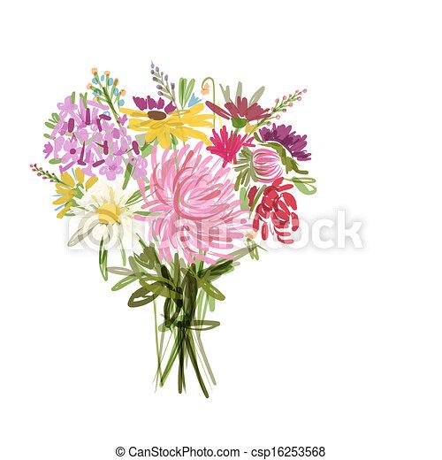 mazzolino, estate, disegno, tuo, floreale - csp16253568