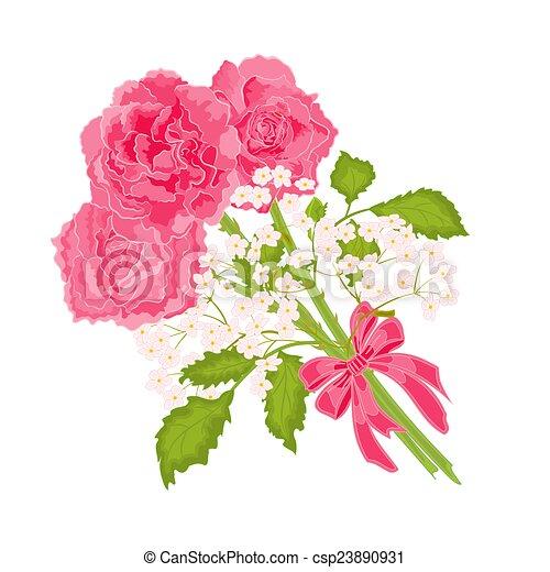 mazzolino, rose, vettore, tre - csp23890931