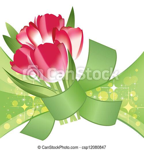 mazzolino, vettore, rosso, tulips - csp12080847