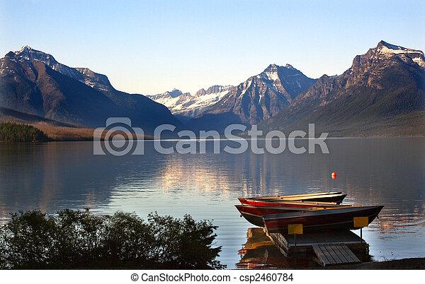 mcdonald, parque nacional, lago, glaciar, barcos - csp2460784