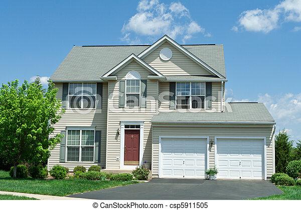 md, család, épület mellék-, egyedülálló, vinyl, elülső, otthon - csp5911505