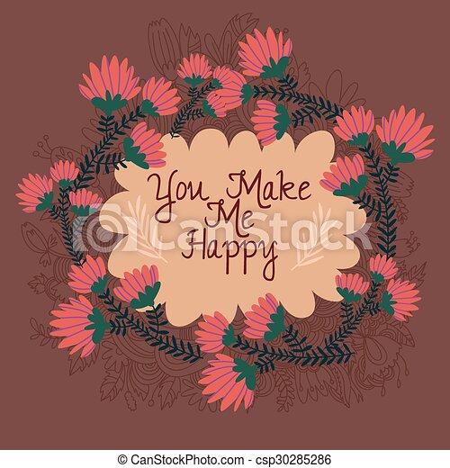 me, -beautiful, elements., fare, augurio, floreale, lei, scheda, felice - csp30285286