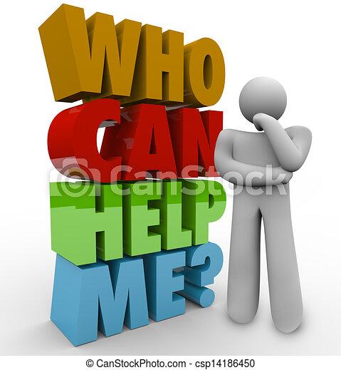 me, client, aide, soutien, avoir besoin, penseur, boîte, homme - csp14186450