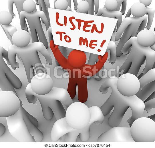 me, foule, obtenir, attention, signe, personne, tries, écouter - csp7076454