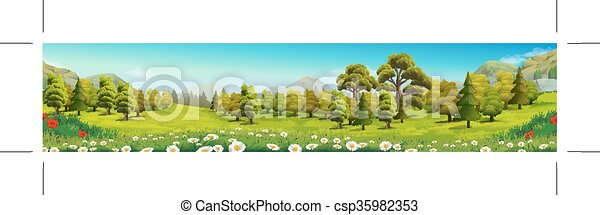 Meadow and forest nature landscape - csp35982353