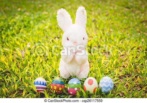 meadow., jaja, wielkanocny królik, cukier - csp26117559