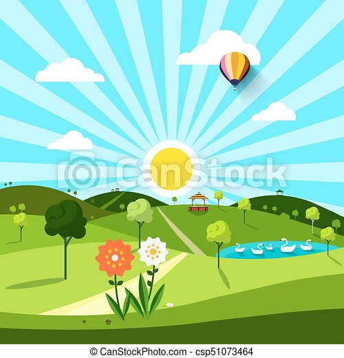 Meadow or Park. Vector. - csp51073464