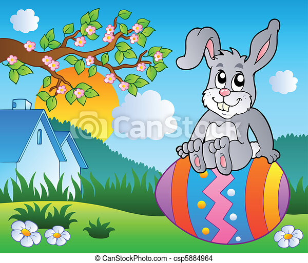 Meadow with bunny on Easter egg - csp5884964