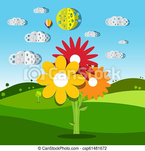 Meadow with Colorful Flowers. Vector Illustration of Summer Field. Natural Rural Scene with Hills. - csp61481672