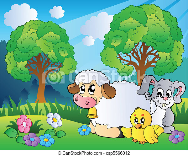 Meadow with spring animals - csp5566012
