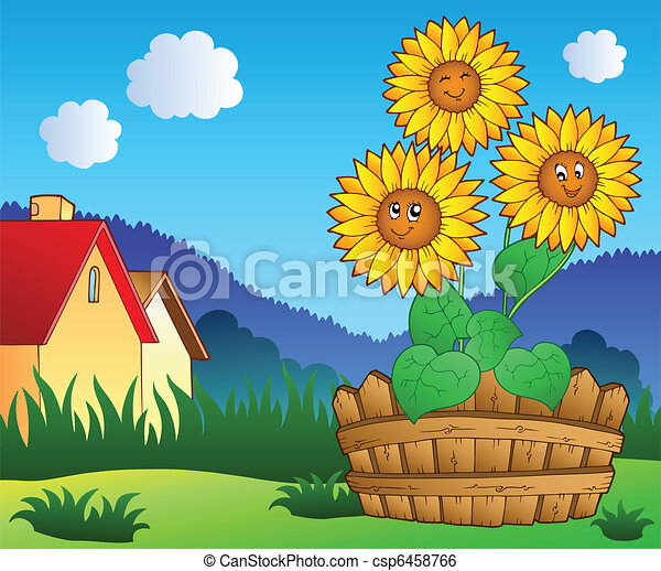 Meadow with three cute sunflowers - csp6458766