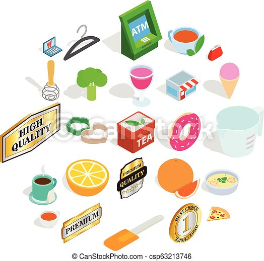 Meal icons set, isometric style - csp63213746