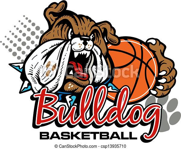 mean bulldog with basketball - csp13935710