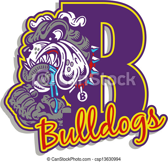 mean bulldog with logo - csp13630994
