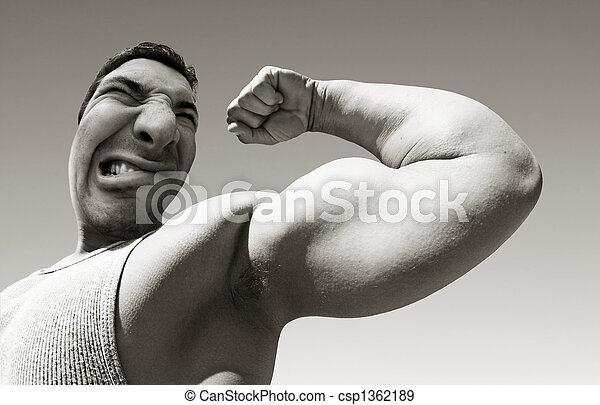 Mean man with big muscles - csp1362189