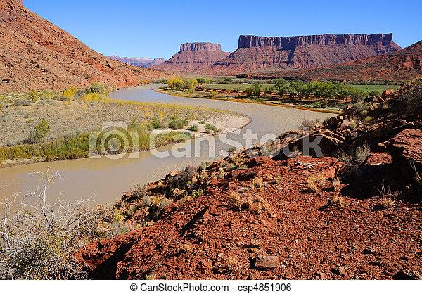 Meander in Colorado River near Desert Resort - csp4851906