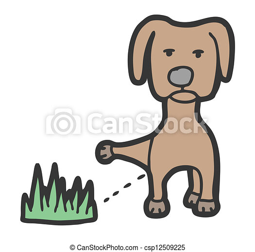 Ilustracin vectorial de mear perro  Hand dibujado perro mear