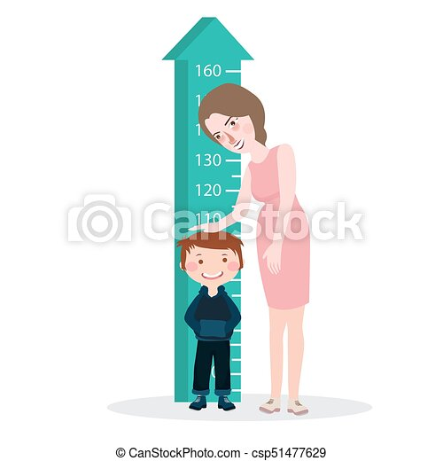 measure child kid height mother woman ruler meter grow healthy full color - csp51477629
