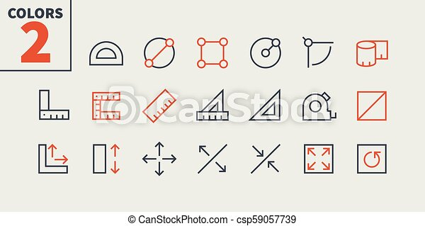 Measure Pixel Perfect Well-crafted Vector Thin Line Icons 48x48 Ready for 24x24 Grid for Web Graphics and Apps with Editable Stroke. Simple Minimal Pictogram Part 1 - csp59057739