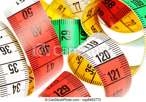 Measure tape, on white background - csp8463773