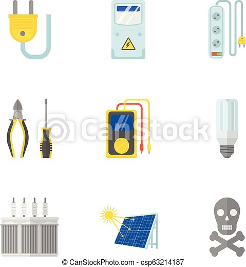 Measurement of electricity icons set, flat style - csp63214187