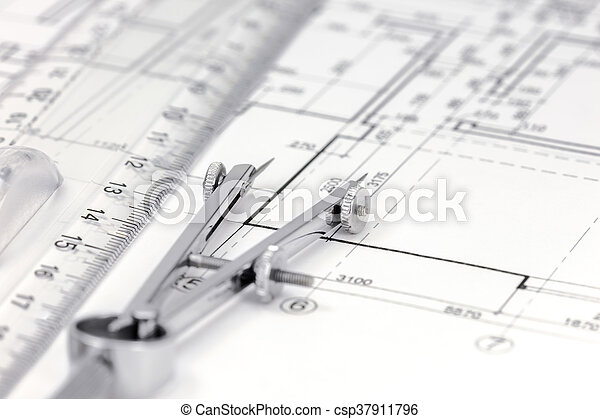 measurement tools on floor plan background csp37911796 - Floor Plan Tools