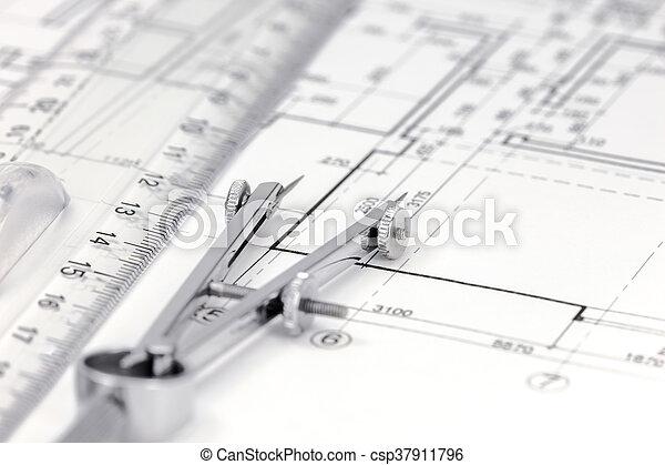 measurement tools on floor plan background csp37911796 - Floor Plan Tools